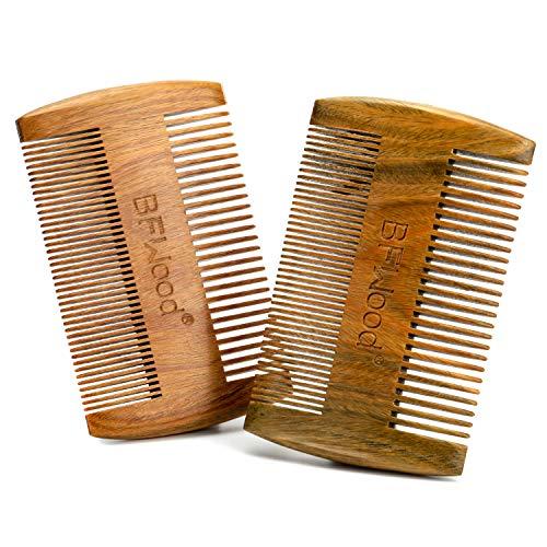BFWood Sandalwood Beard Combs - Dual Action Fine & Coarse Teeth (2 PCS)