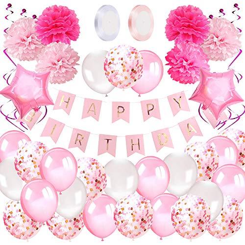 AivaToba Decoration Anniversaire Fille 1 an, Deco Anniversaire Fille Kit avec Banderole Joyeux Anniversaire Ballons Sertie de Ballons Roses,Ballons confettis et Pompons Papier pour Fille 2 Ans 3 Ans