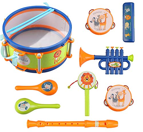 LBLA Toddler Musical Instrument Toys, Kids Drum Set, Percussion, Maraca, Tambourine, Flute, Harmonica, Trumpet, Rattle, Educational Musical Toys Kit, Learning Gift for Boys Girls