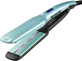 Wide Plate Hair Straightener Infrared Ceramic Straight Plywood LCD Display Straight Clip,Double Voltage, Fast Heating