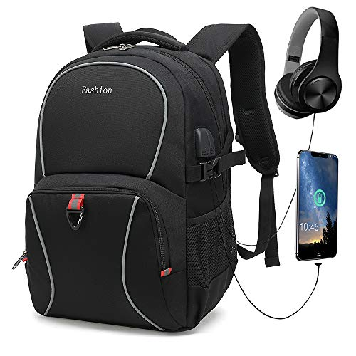 Durable Travel Laptop Backpack, School Computer Backpack with USB Charging Port & Headphone Interface, Water Resistant Book Bag for Men Fits 14-17.3 Inch Laptop and Notebook