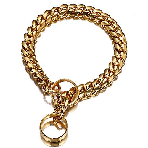 PPuujia Collar de perro sólido de 14 mm, cadena de acero inoxidable para entrenamiento en P, cadena de lujo, collar para perros grandes, suministros para mascotas (color: dorado, tamaño: 40,6 cm)