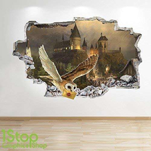 1Stop Graphics Shop Harry Potter Wandaufkleber 3D Optik - Schlafzimmer Kinder Hogwarts Wand Abziehbilder Z616 - Small: 50 cm x 79 cm