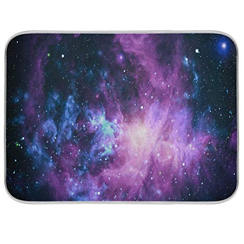Oarencol Galaxy Star - Alfombrilla de secado para platos (18 x 24 pulgadas), diseño de nebulosa, color morado, rosa, azul, espacio grande, reversible