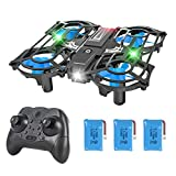 HEYGELO H56 Portable Mini Drone for Kids with Light Up LEDs, RC Small Quadcopter with 3 Batteries, One Key Start/Landing, 3 Speeds Mode and 3D Flip for Beginner Boys and Girls Gift