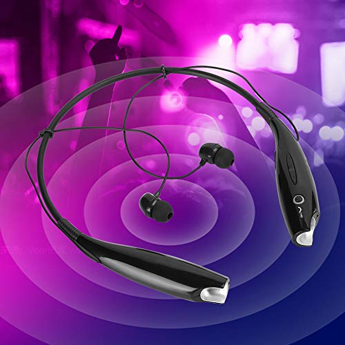 【 】 Hanging Neck Headphones Bluetooth Wireless Hi-Fi Stereo Unilateral Key HV-800 Bluetooth Headset Black Neckband for Smartphone Noise Reduction Music/Audio/Calls(Black)
