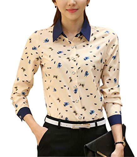 Double Plus Open DPO Women's Collared Long Sleeve Shirt Printed Blouse Cute Chick 16