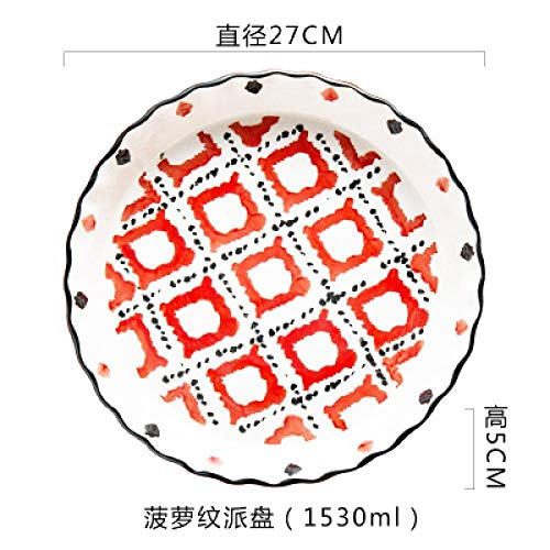 Teller Underglaze Color Technology 10-Zoll-Tiefplatte Pizzateller Runde Keramikschale Haushalt Wellige Spitze Backofen Backwerkzeuge B.
