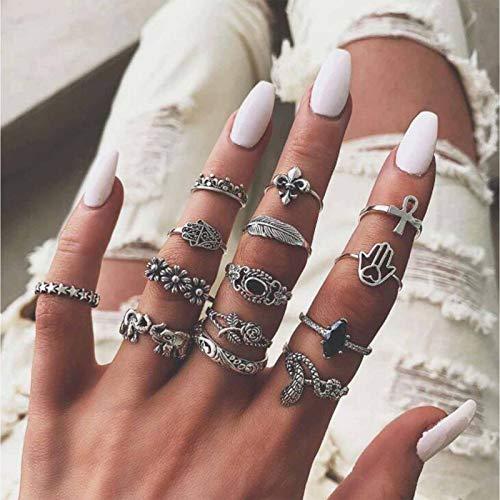 TseenYi Anillos para nudillos estilo vintage, estilo bohemio, plata apilable, diseño de elefante, anillo de dedo retro, piedra lunar, accesorios de mano, joyería para mujeres y niñas