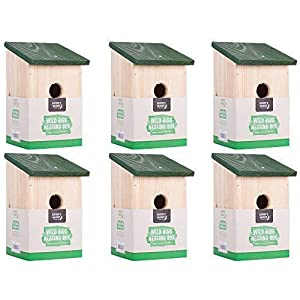 6 x Traditional Garden Shed Wooden Wild Bird Nesting Birdhouse Box Robin Bluetit
