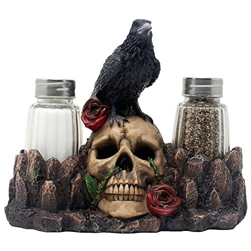 Bone Chilling Raven on Human Skull Salt and Pepper Shaker Set