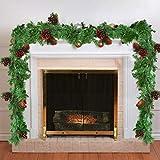 Guirnalda Navidad - 1.8M Guirnalda Verde Navidad con 12 Piñas de Pino Colorado -...