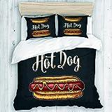 CVSANALA Bedding Juego de Funda de Edredón,Sandwich de Salchicha con Mostaza para Hot Dog Stands Carritos de Comida rápida,Microfibra SIN Relleno,(Cama 140x200 + Almohada)
