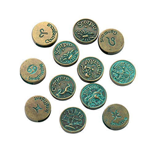 12 perline distanziali tibetane vintage con motivo a ruota dorata, per braccialetti e gioielli, perline distanziali in metallo, per creazione di gioielli, 17 x 5 mm