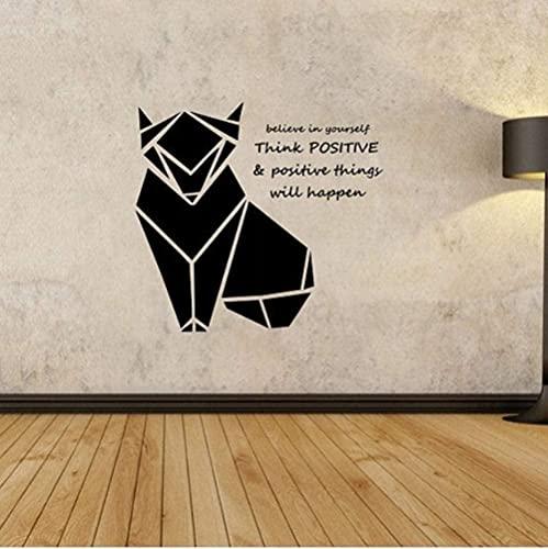 Origami Fox pared calcomanía geométrica animal vinilo pared pegatinas sala de estar hogar diseño mural 56X60Cm