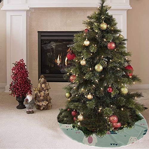 Falda de árbol de Navidad Hermosa tienda de herramientas para el hogar móvil Tienda de campaña Falda de árbol de impresión Falda de árbol de poliéster Alfombra al aire libre para fiestas Dec