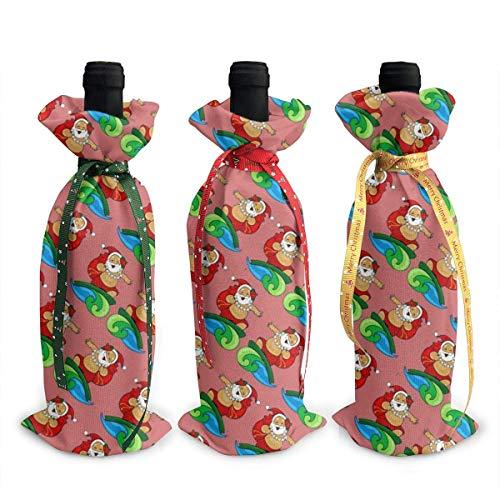 3 x Weinflaschen-Abdecktüten Weihnachten Hawaii mit Weihnachtsmann Surfen Dekoration, wiederverwendbare Weinflaschen-Geschenktüten für Dinner-Party, Tischdekorationen