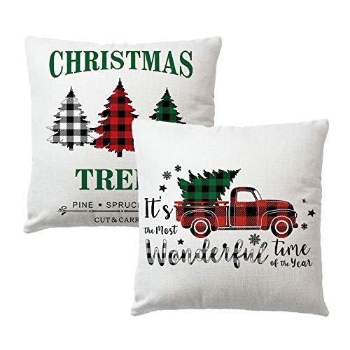 2Pcs Fundas Almohada navideñas, Rojo / Negro, Cuadros búfalo a Cuadros, árboles Navidad / Funda cojín para camión, Fundas Almohada cuadradas Winter Happy Holiday, 18 '(18')