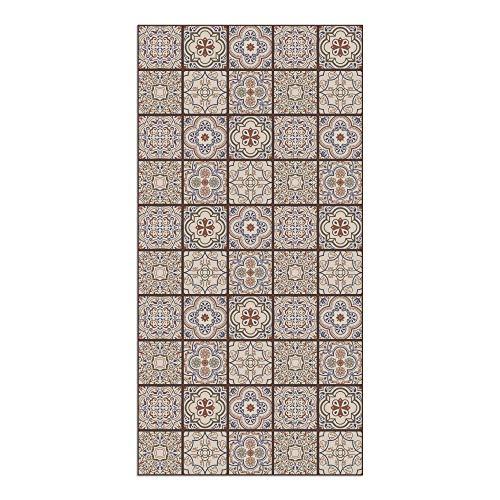 DON LETRA Alfombra Vinílica con Diseño de Baldosas - 100 x 50 cm - Material Impermeable y Lavable - Grosor de 2 mm, Color Marrón, ALV-015