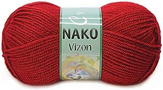 Nako VIZON Knitthing Hand Yarn -Dark Red