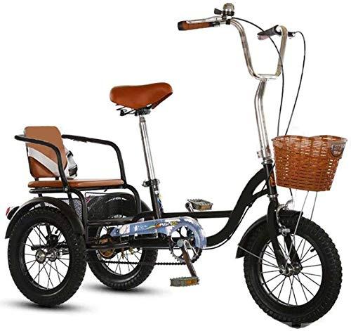 HKPLDE Tres Mayores-Bicicletas con Ruedas Personas Mayores Triciclos con Pedales Adultos, En Lugar De Caminar Triciclos De Carga De Coche De Ocio, 14-Pulgada Bold Wear-Neumáticos Resistentes-Negro