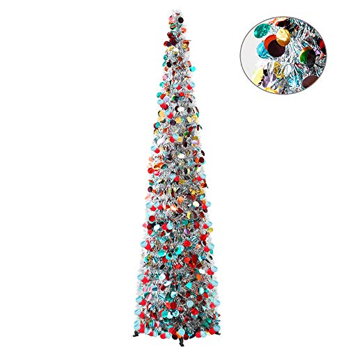 YuQi 5FT Pop Up Christmas Tinsel Slim Trees with Plump Shiny Sequins,Collapsible Artificial Pencil Xmas Tree Reusable with Plastic Stand for Fireplace & Office & Classroom,Party Decor-Colorful Silver