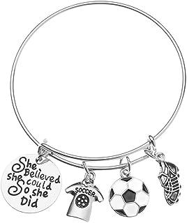 Soccer Bracelet, Soccer She Believed She Could So She Did Jewelry, Soccer Bangle Bracelet- Soccer Charm Bracelet, Perfect Soccer Gifts