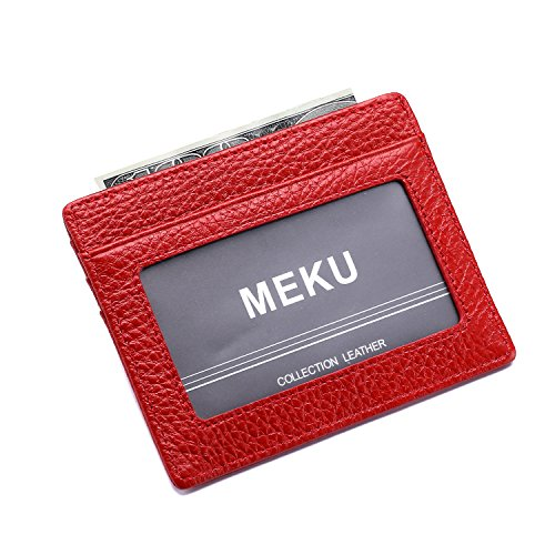 MEKU Slim Front Pocket Leather Wallet Business Credit Card Case Sleeve Minimalist Wallet with ID Window Red