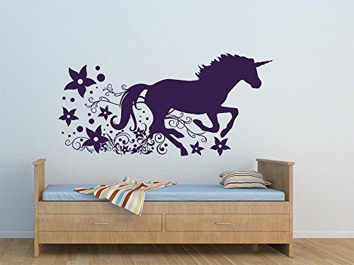 GRAZDesign Geburtstagsgeschenk für Mädchen Pferdewandtattoo - Babyzimmer-Dekoration Einhorn - Wandtattoo Kinderzimmer Mädchen Wilde Pferde / 63x30cm / 822 Water Lilly