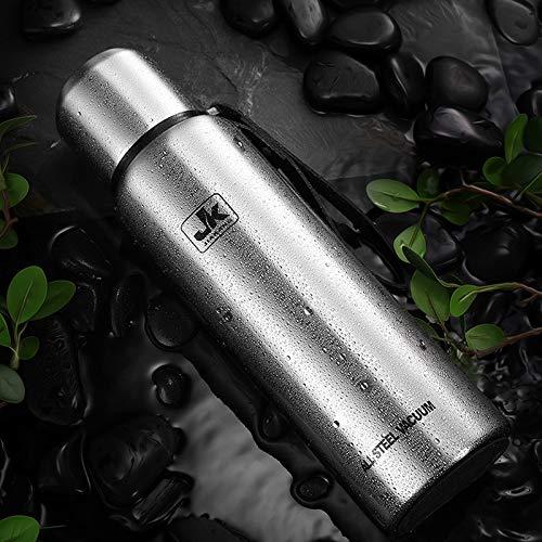 500/750/1000 / 1500ml Russian outdoor thermos portable large capacity stainless steel mug military style vacuum bottle-kids cups with lids-thermo Stainless Steel Vacuum -Silver-750ML
