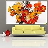ganlanshu Rahmenlose Malerei Digital Artist Home Decoration Poster mit Blumenstrauß von Mohnblumen...