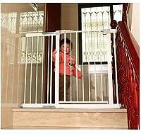 ベビーゲート フェンス ドア付き 階段や廊下の壁には、デュアルロックベビーゲート簡単に調節可能なエキストラ安全な階段子供の安全ドアパンチフリーインストールマウントペットフェンス圧力締結(Hの76センチメートル) (Color : White, Size : 194-201cm)