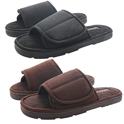 Zapatos Diabéticos Respirable,Zapatillas de algodón con velcro de talla grande para hombres, fondo grueso cálido y transpirable más zapatos de terciopelo-S40 / 41 yarda + M42 / 43 yarda_Negro + marr
