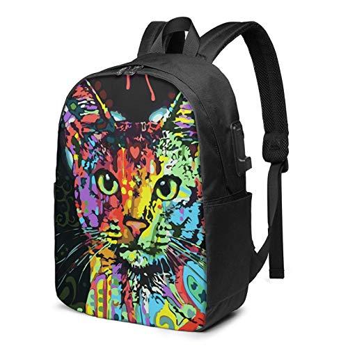 XCNGG Mochila Colorida para portátil de Viaje con diseño de Gato y león arcoíris de Animales, Mochila con Puerto de Carga USB, para Hombres y Mujeres, se Adapta a 17 Pulgadas