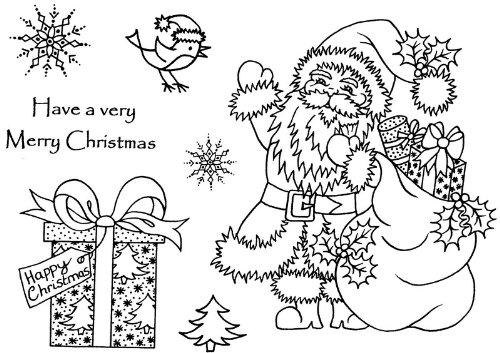 Art Stamps A6 Sue Dix timbre père Noël avec des colis