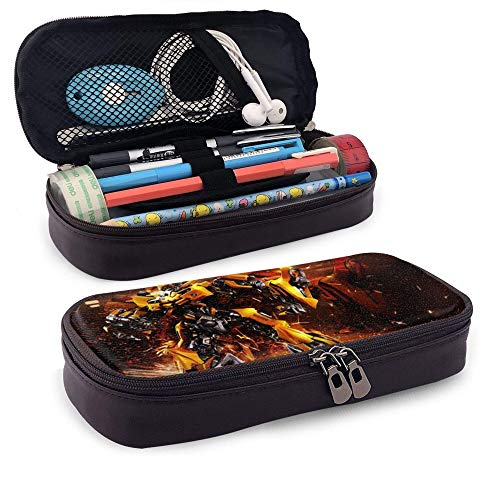 Bumblebee Big Capacity Leather Pencil Case with Zipper Pouch Box Portable Makeup Bag Storage for School Office