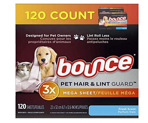 Bounce Pet Hair and Lint Guard Mega Dryer Sheets for Laundry, Fabric Softener with 3X Pet Hair Fighters, Fresh Scent, 120 Count (. 0 1 Box of 120)