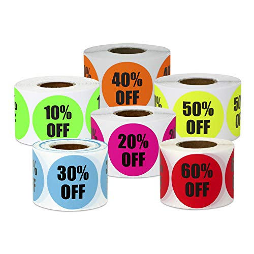 1200 Labels - 10 Percent Off to 60 Percent Off Sticker Bundle for Yard Garage Sale Retail Store Clearance (1.5 Inch, Green - 6 Rolls)