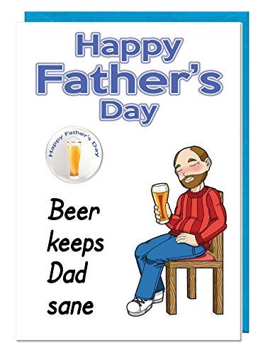 Grappige humor grap vader dag bier thema kaart en badge voor een vader of stiefvader - bier houdt papa gezond