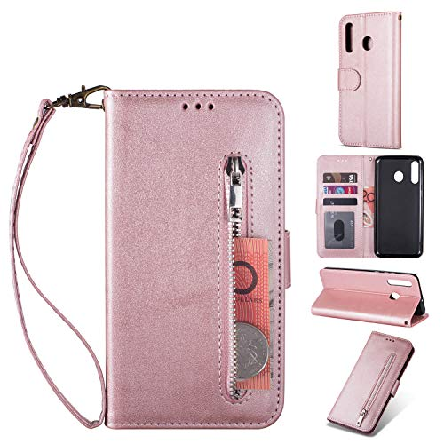 ZTOFERA Samsung Galaxy A40 Handyhülle Schutzhülle Leder PU Wallet Lederhülle Klapphülle Kartenfach Standfunktion Zipper Brieftasche Magnetisch Silikon Protective Hülle für Galaxy A40 - Roségold