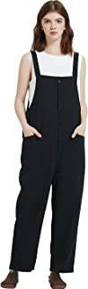 Gihuo Women's Baggy Loose Cotton Linen Bib Overalls Jumpsuits