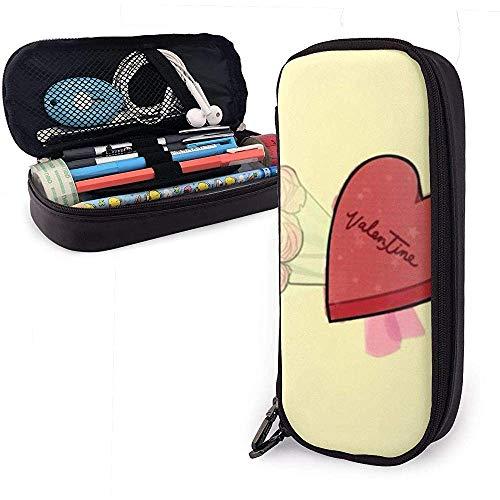 Rose Heart PU Estuche de cuero para lápices, Bolso para bolígrafos de gran capacidad, Organizadores de papelería duraderos para estudiantes Cremallera doble 4cm x 9cm x 20cm
