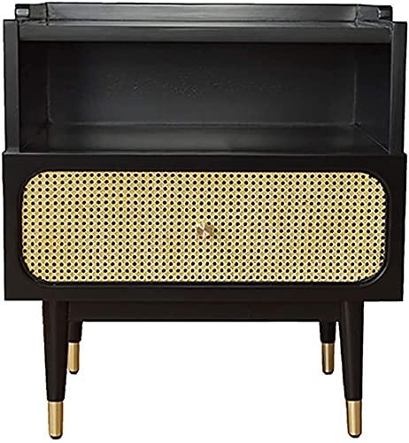 Sovrumssängbord i trä, Modern ultratunn rotting sovrumssängbord, vardagsrumsmöbler med mässingshandtag, öppet förvaringsutrymme, svart