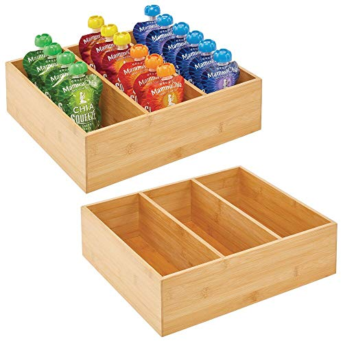 mDesign Bamboo Kitchen Cabinet Pantry Organizer Bin - 3 Divided Sections - Eco-Friendly, Multipurpose - Use in Drawers, on Countertops, Shelves or in Pantry, 2 Pack - Natural Wood Finish