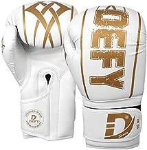 DEFY Boxing Gloves for Men & Women Training MMA Muay Thai Premium Quality Gloves for Punching Heavy Bags Sparring Kickboxing Fighting Gloves (White, 14oz)