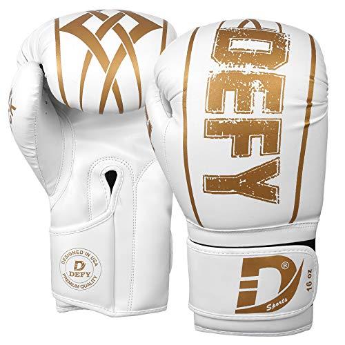 DEFY Boxing Gloves for Men & Women Training MMA Muay Thai Premium Quality Gloves for Punching Heavy Bags Sparring Kickboxing Fighting Gloves (Black, 16oz)