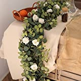 MISSPIN 6.9ft Eucalyptus Garland with Flowers -12 Lovely Peonies-Lush, Soft Artificial Eucalyptus and Rose Garland Decor, Floral Garland Greenery Garland for Wedding Decor Table Decor (White,1)