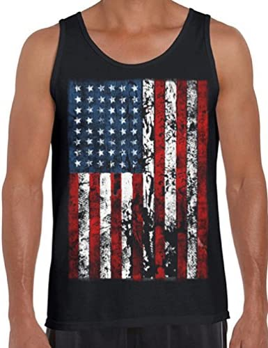 Awkwardstyles Men s American Flag Distressed Tank Top 4th July Tank Bookmark XL Black product image