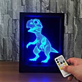 Marco de fotos de dinosaurios USB Christmas A Power 3D LED Night Light Lámpara de mesa Decoración de cabecera Regalo para niños