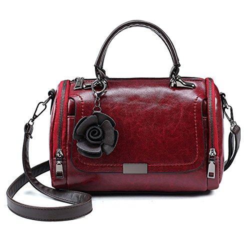 Tisdaini® Sacs portés Main Femme Tendance PU Cuir Cabas Sacs portés épaule Sacs bandoulière Sac a Main Vin Rouge